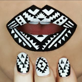 Then came the lip art/nail art combo. For funsies. | This Makeup Artist Transfor...