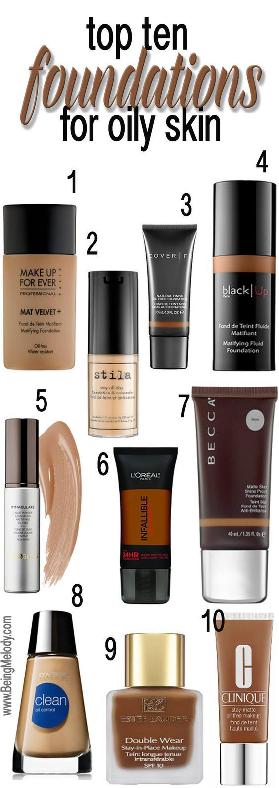 Top Ten Foundations for Oily Skin | www.beingmelody.com| @beingmelody: