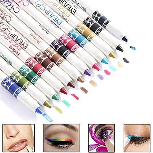 toyofmine 12 Pcs Cosmetic Makeup Glitter Eyeliner Eye / Lip Liner Eyebrow Pencil...