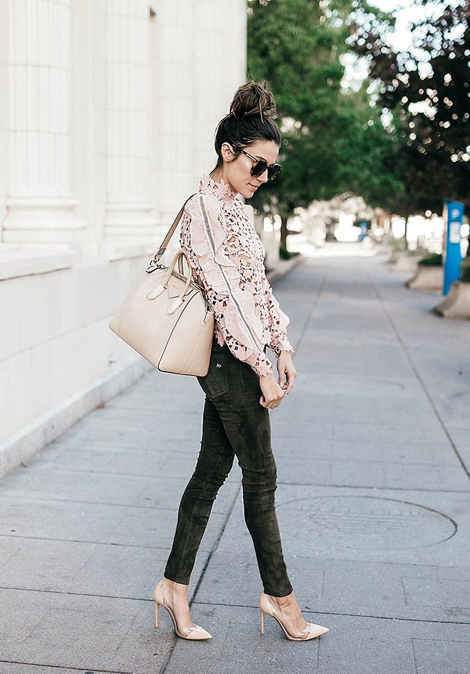 blush lace and olive skinnies on Hello Fashion