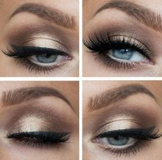 Beautiful long lashes and gold/brown eyeshadow on blue eyes is perfect. Get amaz...