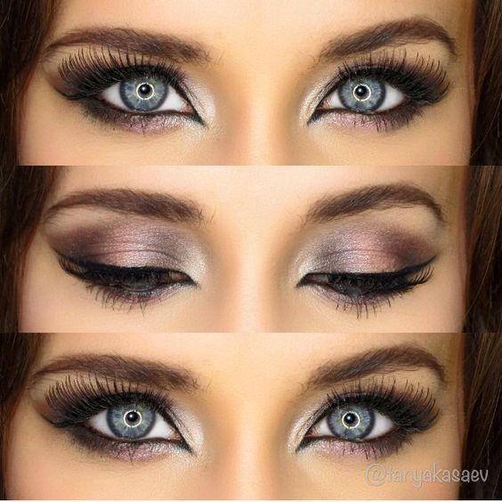 Beautiful makeup for blue eyes, pink metallic naked 3 palette makeup ideas: