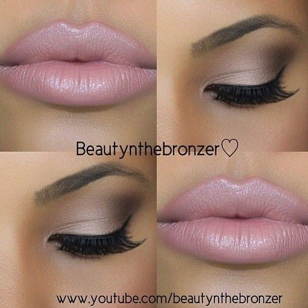Bronze Smokey Eye Nude Lip Makeup Tutorial ❤ liked on Polyvore featuring beaut...