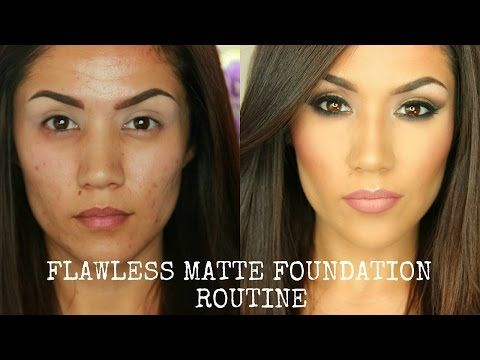 FLAWLESS FULL COVERAGE MATTE FOUNDATION TUTORIAL I OILY/COMBO SKIN (UPDATED) - Y...