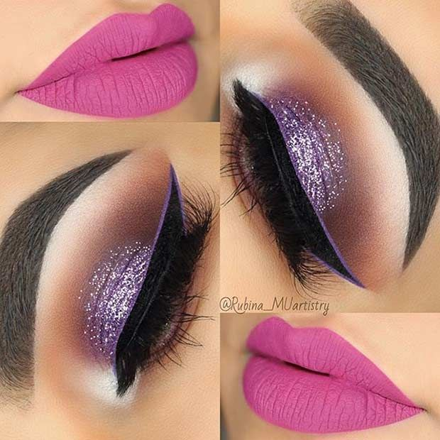 Purple Glittery Eyes and Pink Lips Prom Makeup