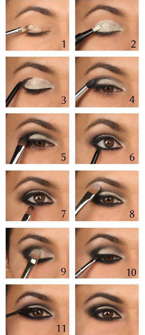 Sparkling Silver Eyeshadow Tutorial For Beginners | 12 Colorful Eyeshadow Tutori...