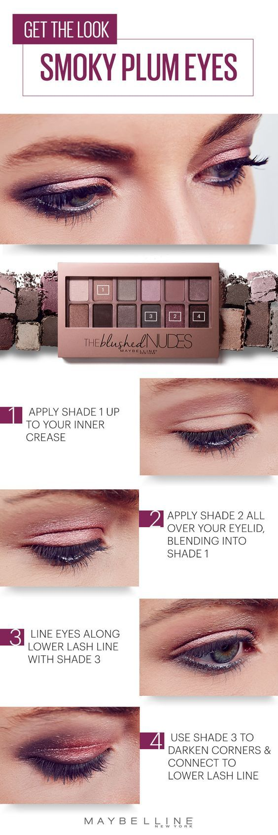 This romantic smoky plum eyeshadow look is perfect for any Valentine's Day e...
