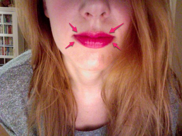 how to make thin lips fuller: draw outside the lip line in the corners