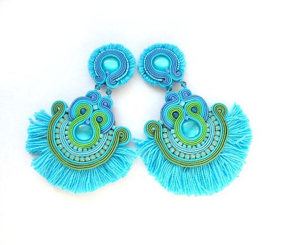 Boucles d'oreilles pompon turquoise, longues boucles d'oreilles, boucles d...