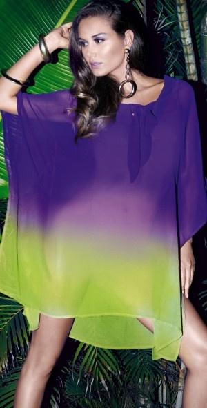 David 2013 Purple and Green Poncho 3116-KA