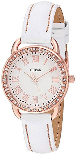 GUESS Womens Quartz Stainless Steel and Leather Casual Watch ColorWhite Model U0...