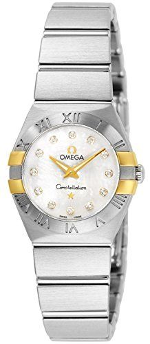 Omega Constellation Diamond Mother of Pearl Yellow Gold and Steel Ladies Watch 1...