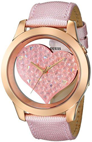 GUESS Women's U0113L5 Heart Inspired Pink Genuine Leather Watch with Rose Go...