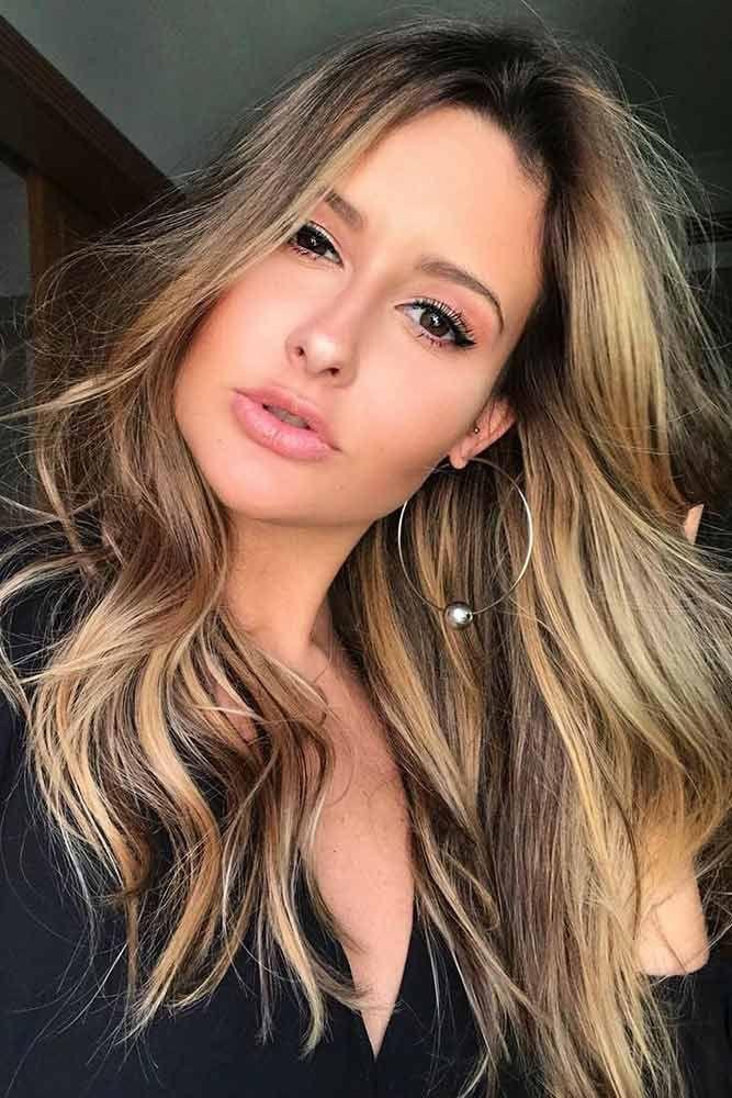 Caramel Highlights on Dark Hair #brunette #messyhair #longhair #highlights ❤...