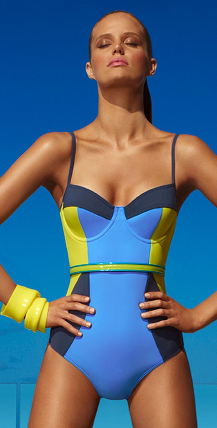 Bold blue and yellow color blocking.