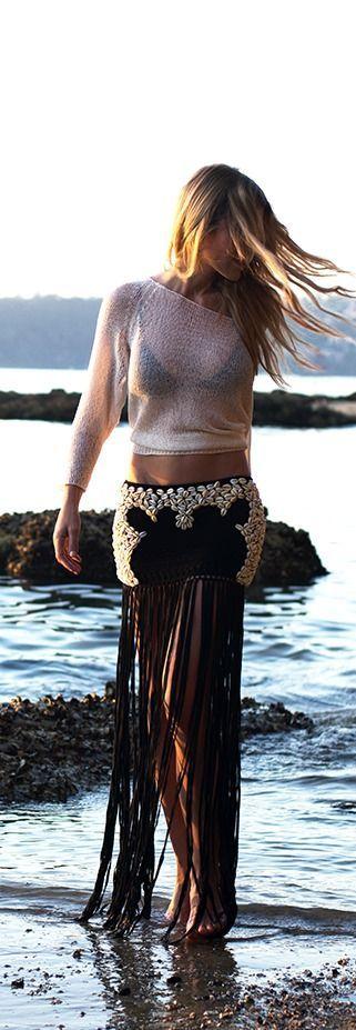 High Society- Hawaii Resort with Fringed Boho Skirt | ~ LadyLuxuryDesigns ~