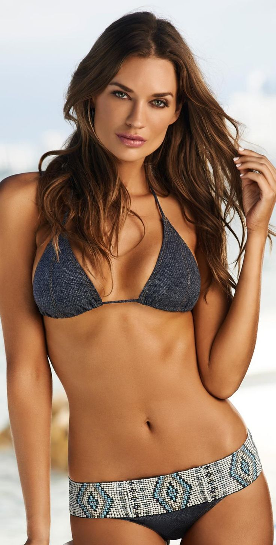 Indigo Belted Beaded Bikini on a flawless skin. Get rid of skin imperfections. O...
