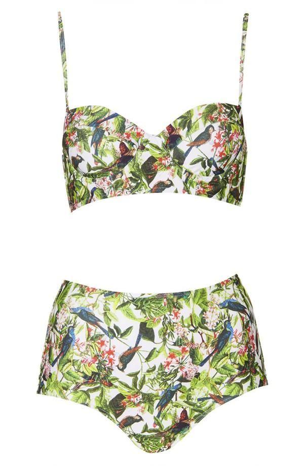 Leaf Print High Rise Bikini