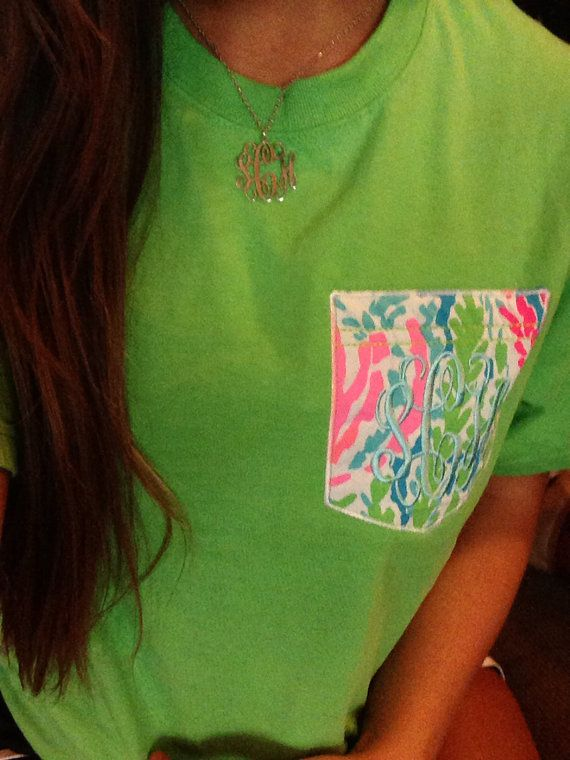 Lilly Pulitzer pocket tee by MeauxsMonogram on Etsy, $25.00