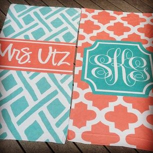 Monogrammed beach towels - would be cute for spring break with the girls and eve...