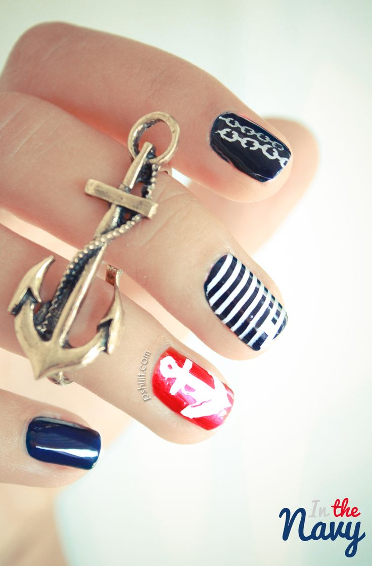 #Thesundaynailbattle // In the Navy en bleu blanc rouge