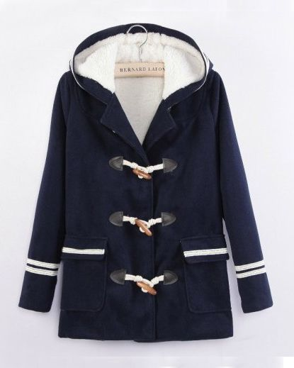 Navy Long Sleeve Fur Hooded Pockets Coat