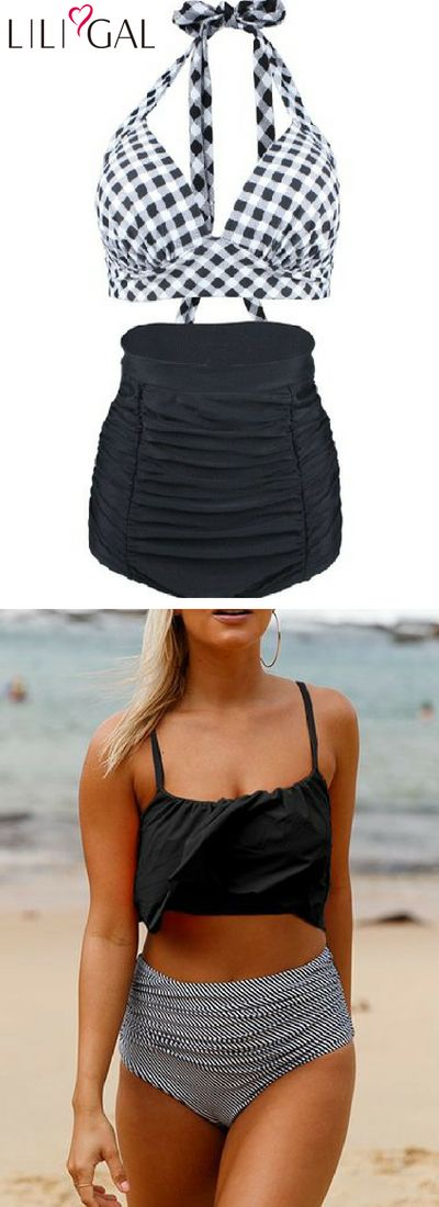Plaid Open Back Swimwear Bra and High Waist Ruched Shorts/ Overlay Black Swimwea...
