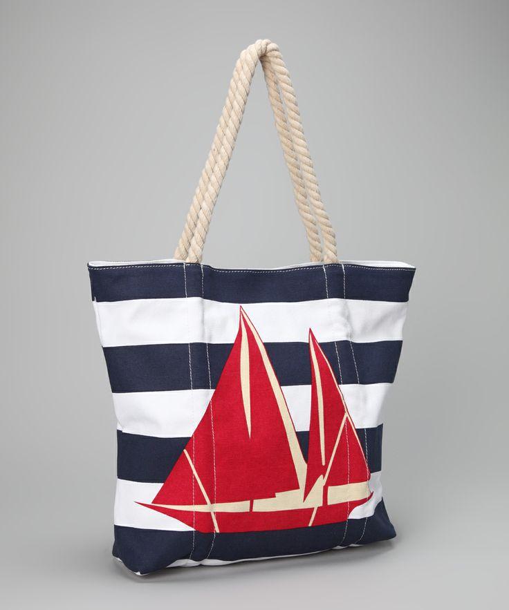 Red & Navy Sailboat Tote