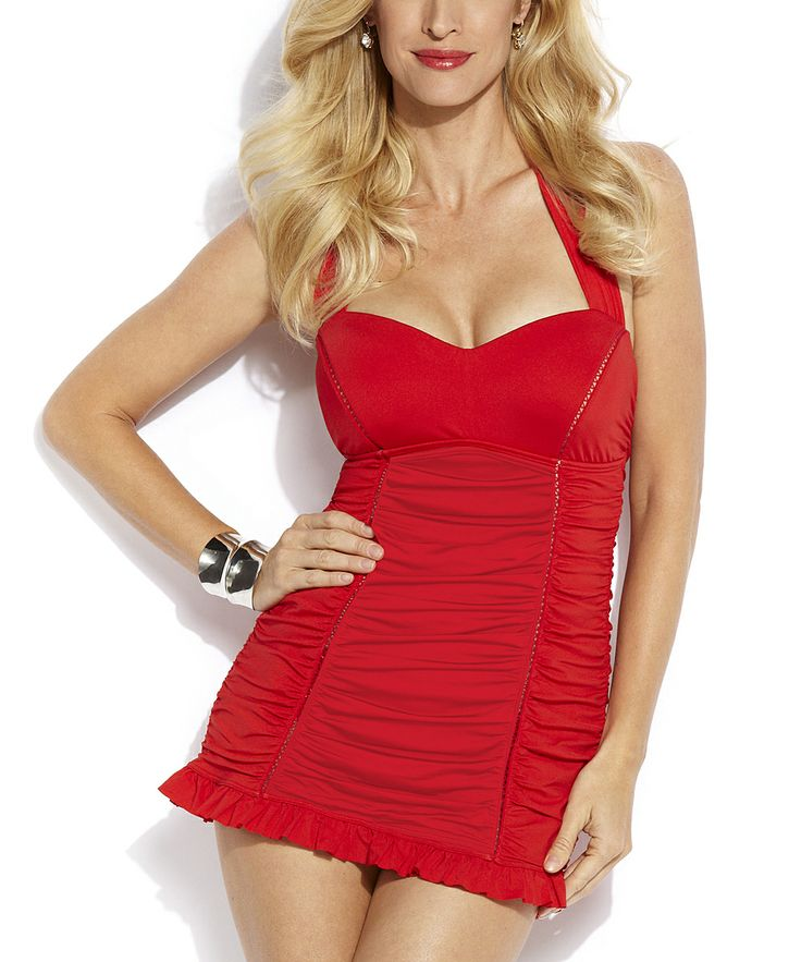 Red Retro Ruched Swimdress