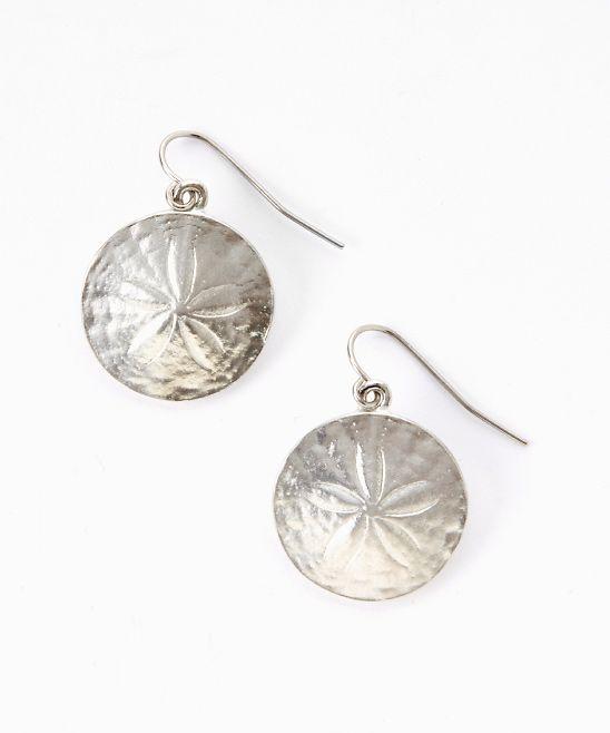 Silver Sand Dollar Drop Earrings