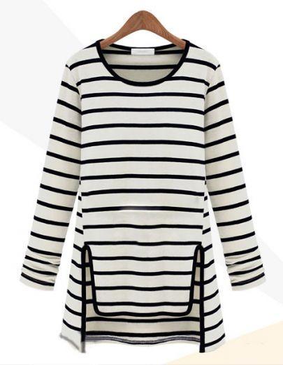 Striped Asymmetric T-shirt