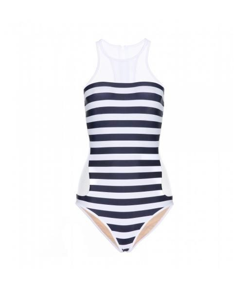Striped Mesh-panelled Swimsuit