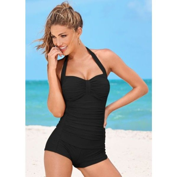 Venus Shorty One-piece ($66) ❤ liked on Polyvore featuring swimwear, one-piece...