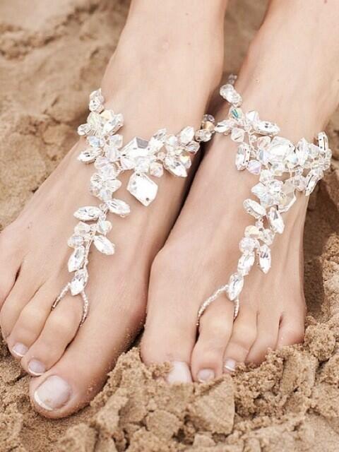 barefoot crystal sandals beach wedding