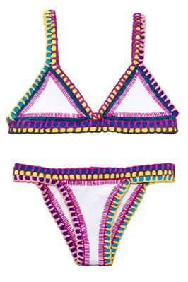 it's such a cute swimsuit irl. each one is handmade and the triangles are ne...