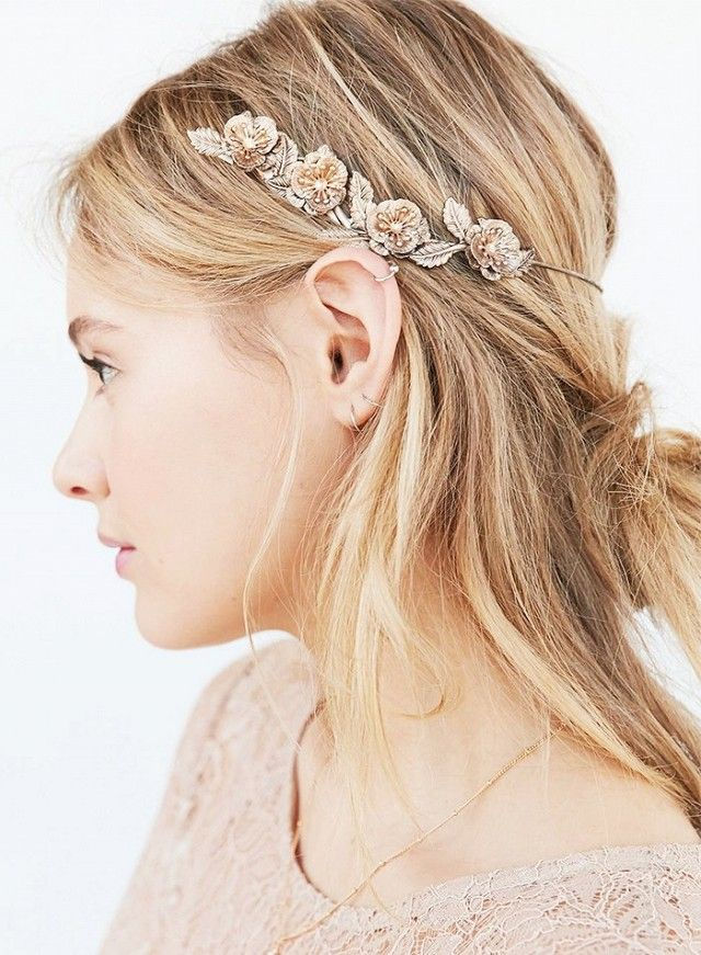 A gorgeous hair accessory with a messy chignon