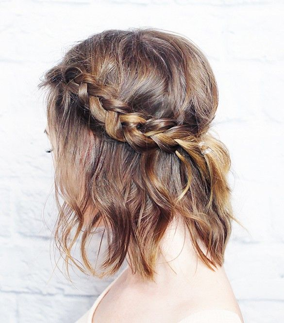 Braided hair and tousled waves.