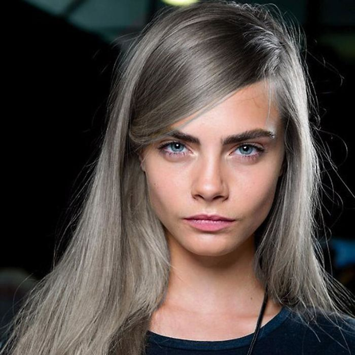 Cara Delevingne with gray hair