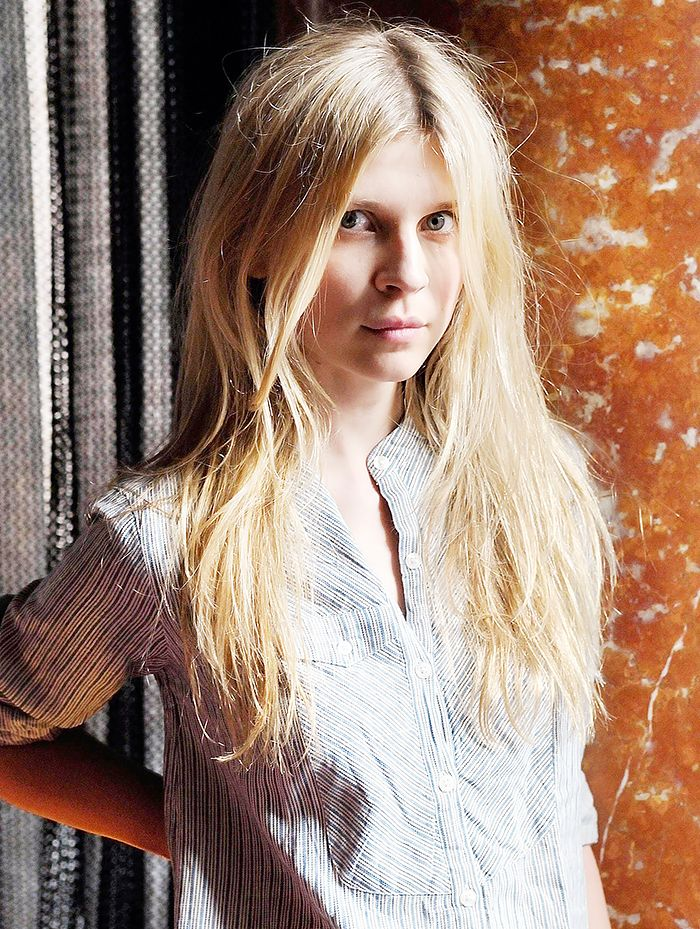Clemence Poesy's tousled bedhead hair