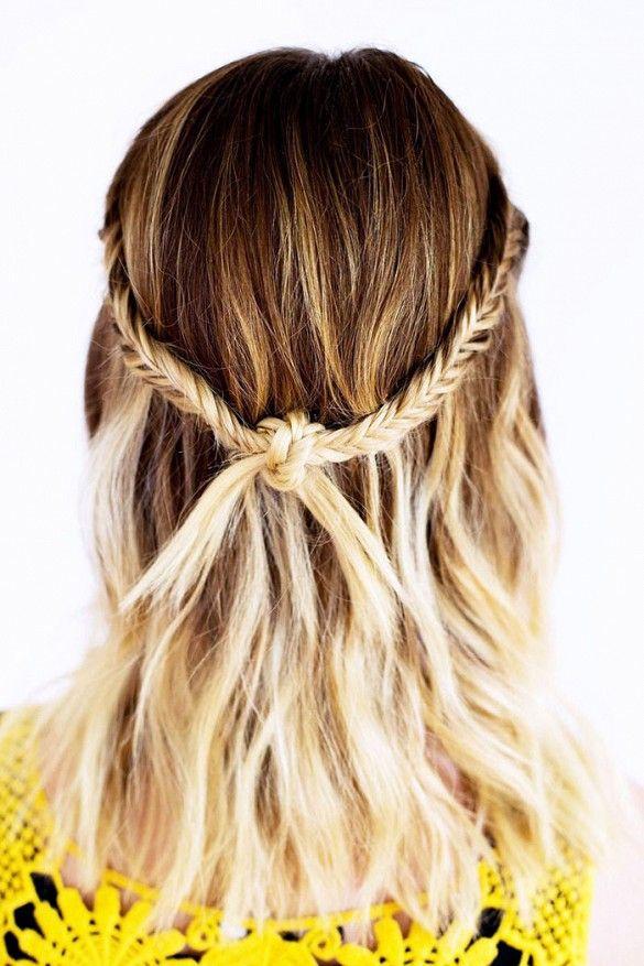 Bohemian-inspired knotty fishtail braid