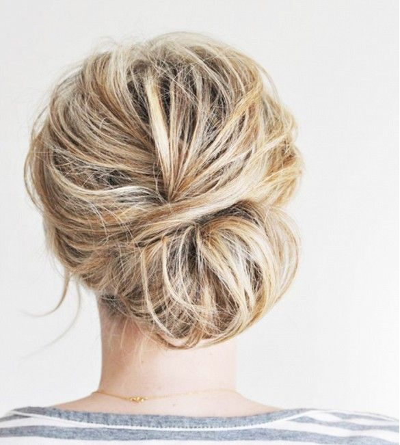 Messy, low chignon