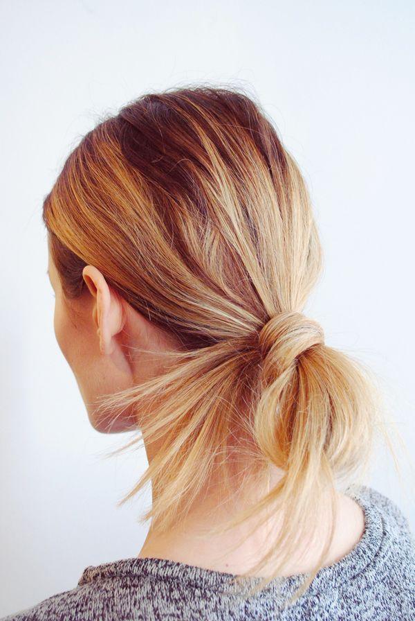 low ponytail x bun.