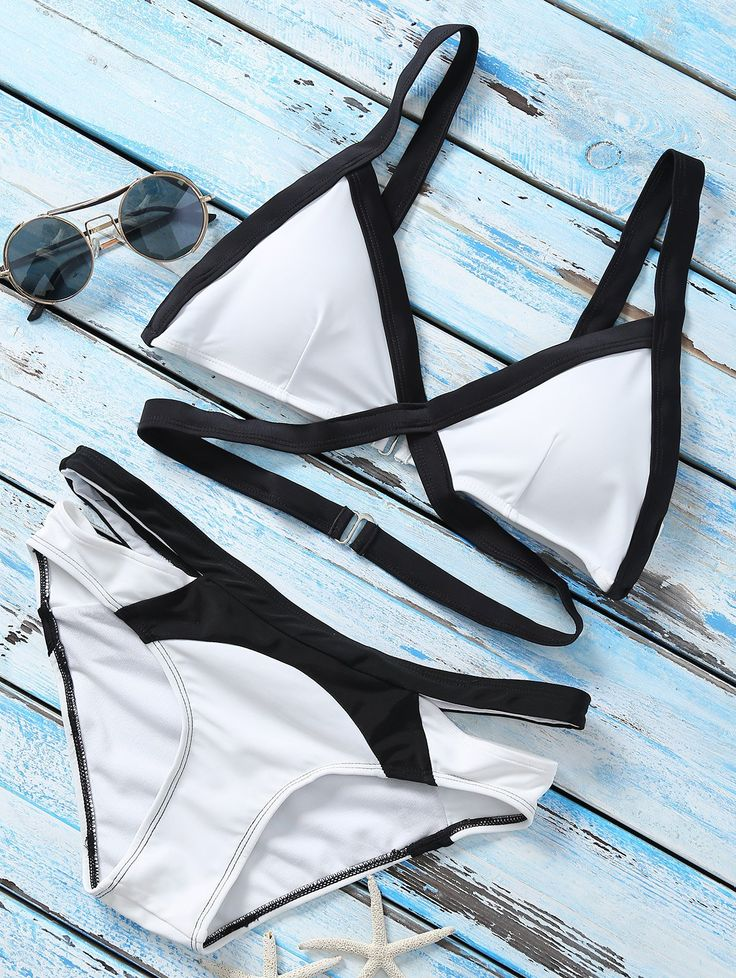 $18.49 Strappy Color Block Banded Bikini Set - WHITE L