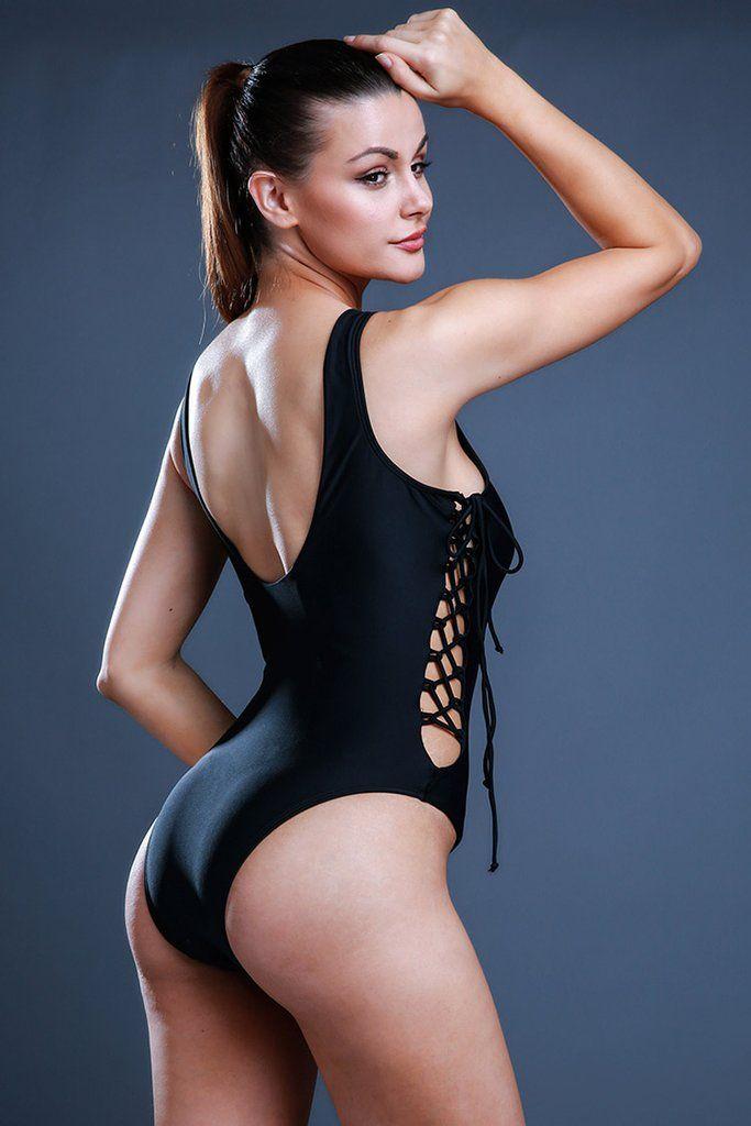 FB518# Solid Color Crisscross Lace Up Deep Plunge One Piece Swimsuit