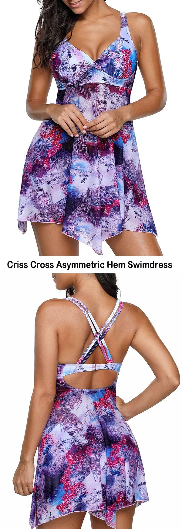 Criss Cross Asymmetric Hem Swimdress and Panty   #liligal #swimwear #swimsuit