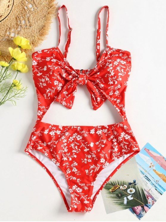 Floral Cut-Out Knotted Swimsuit. Get the comfort you want with this smooth-fitti...