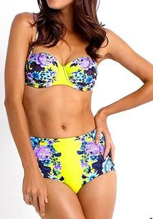 Front view of model in Floral High Waist Bikini