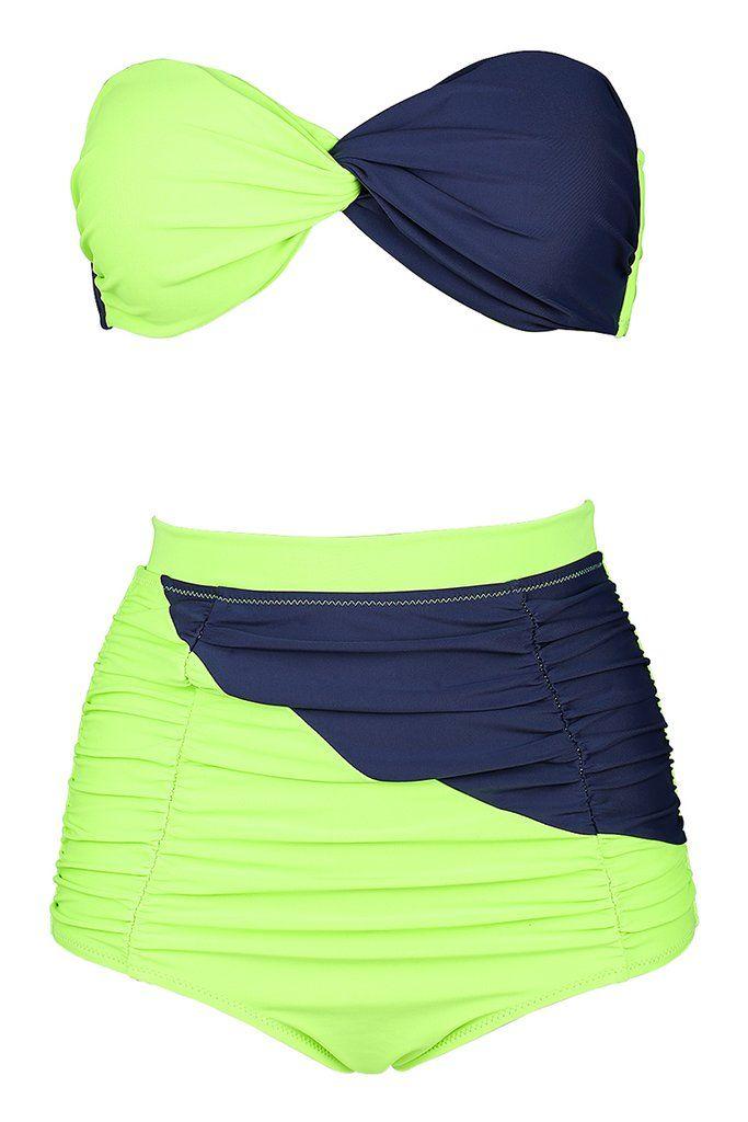 Green & Deep Blue Halter Twisted #Bandeau High Waist #Bikini Set - #plussize