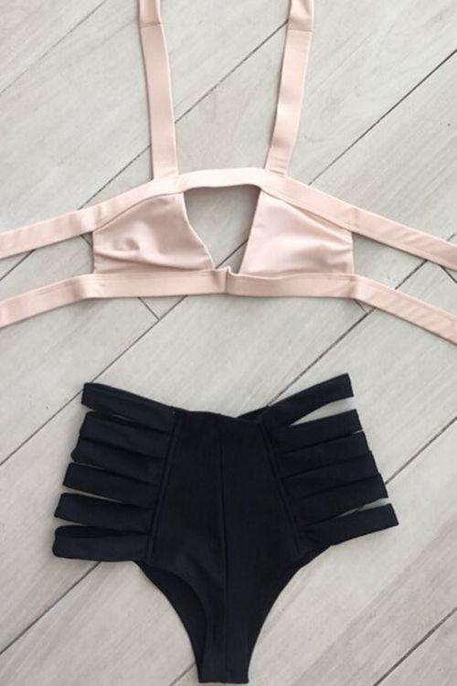 Hit Color Bandage Halter Bikini Set