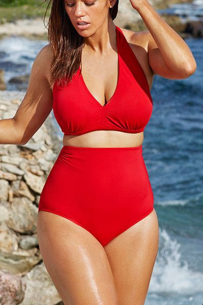 Hot selling High-waisted Halter Bikini Swimsuit! An enrapturing classic vintage ...